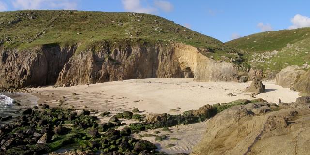 Sandy beach in Nanjizal Bay (or Mill Bay)