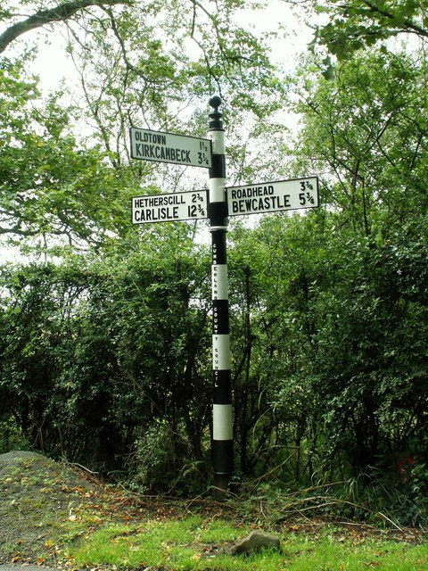Cumberland signpost near Roweltown