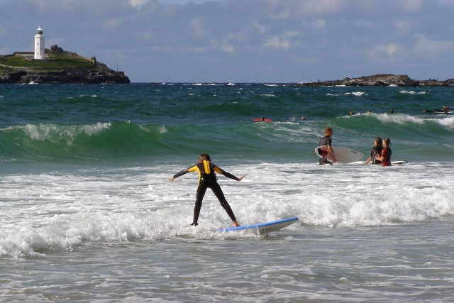 Surfing at Gwithian Sands