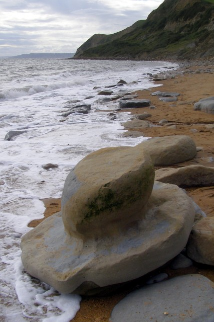 Hat-shaped boulder on the beach, Eype