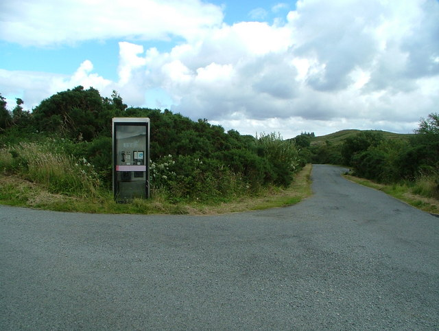 Camastianavaig phone box at road junction