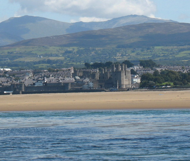 Caernarfon Castle and former prison from Tal-y-foel