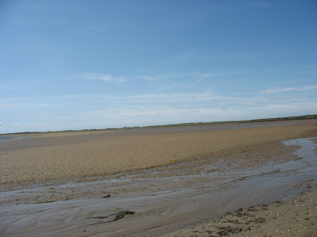 View south-west across the exposed sandbank