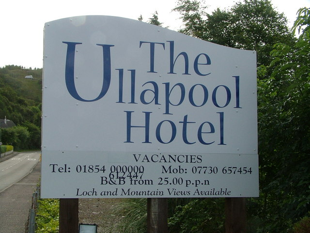 The Ullapool Hotel sign