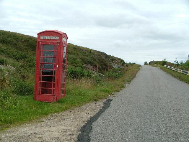 Telephone box, near Oykel Bridge Hotel