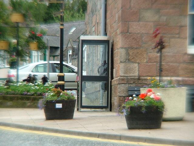 Telephone box at base of Dufftown Clock Tower