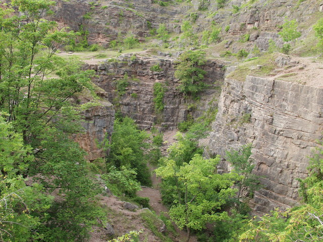 Excavations inside the depths of  Llanymynech quarry