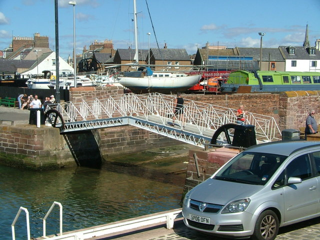 Metal bridge in Arbroath Harbour