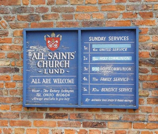 All Saints Church, Lund, Church Notices