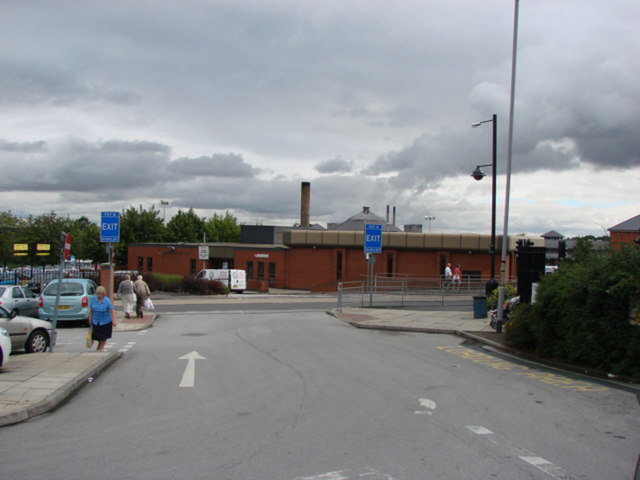 Pontefract Swimming Baths, seen from the entrance to Tesco car park.