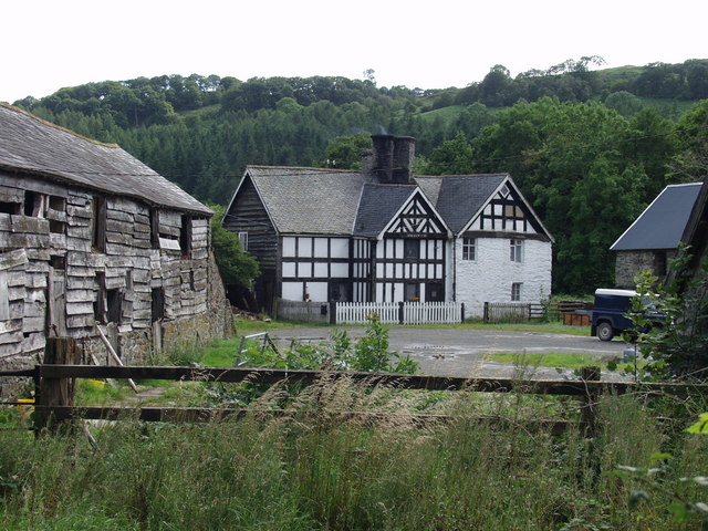 Stone and timbered house at Plas Dolanog