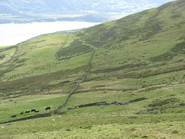 Mountain wall south of Bwlch y Rhiwgyr