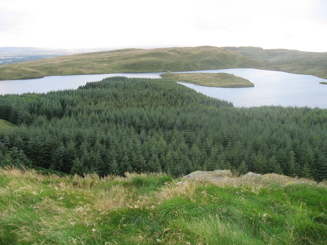 Jaw Reservoir and Cochno Loch from Dunellan