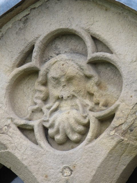 Stone head above window, Aydon Castle