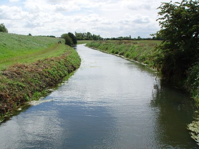 Barmston Drain from the new footbridge bridge, looking south.