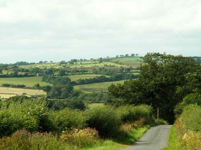 Road from Stapleton to Mallsburn, with view over Lyne Valley