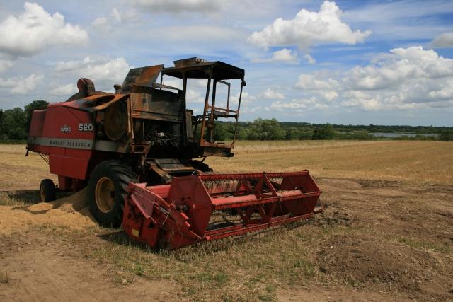 Combine harvester, Broad Hall Farm