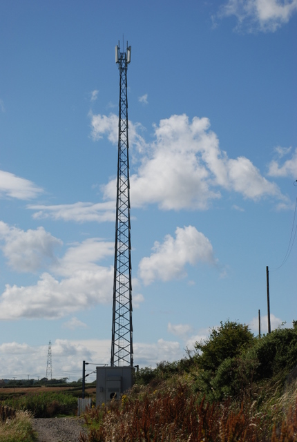 Phone mast at the side of the railway