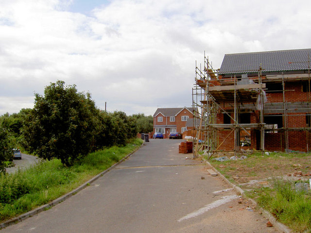 New houses on what was the road to Wombwell railway station.