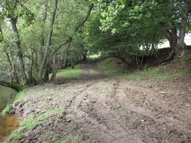 Track down to the ford at Rhyd