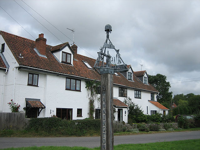 Large house by Swannington village sign