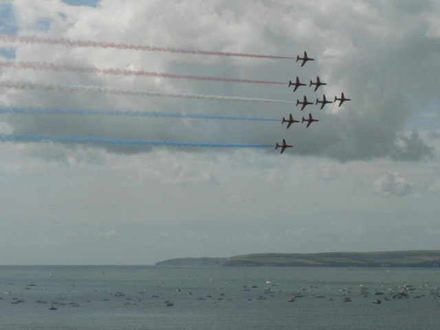 The Red Arrows visit Bournemouth: Old Harry beyond