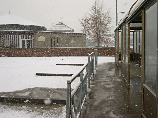 Bourne Bus Station in the Snow