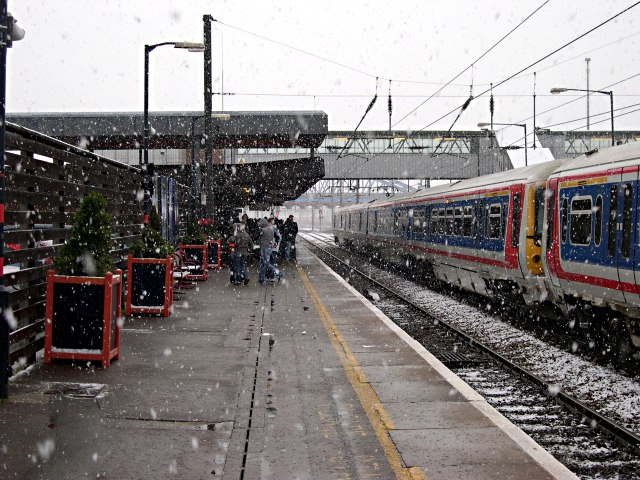 Waiting for the Fast Train to London in the Snow