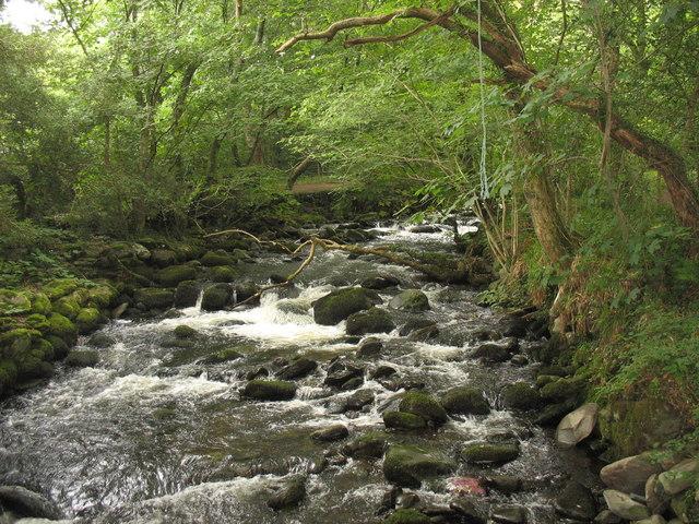 The well named Afon 'Sgethin from the footbridge