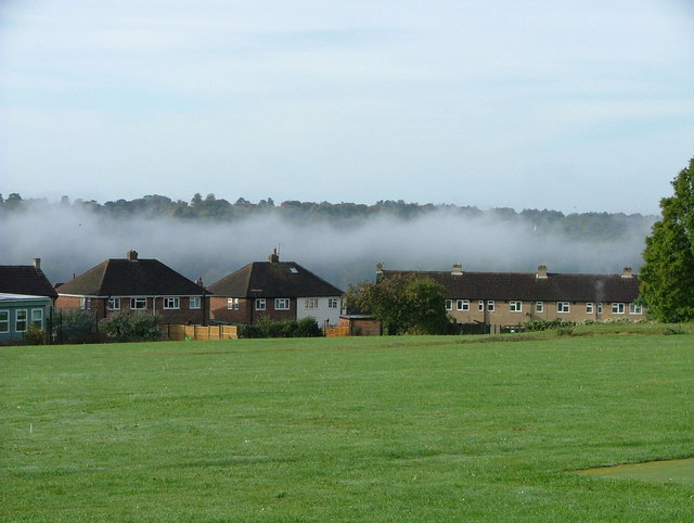 Morning mist hangs in the Wycombe valley