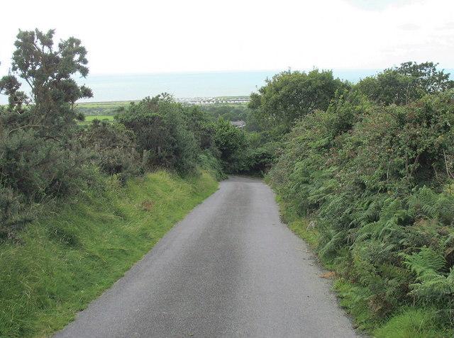 Looking downhill towards Tyddyn Felin