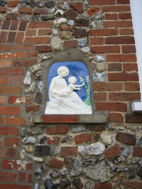 Madonna and Child on plaque at Chapel Cottage