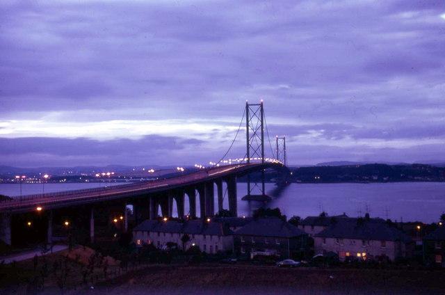 Forth Road Bridge at night.