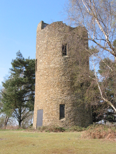 The folly tower at the top of Chinthurst Hill