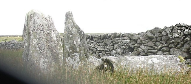 Upright stones at the eastern end of the largest of the Hengwm Cairns