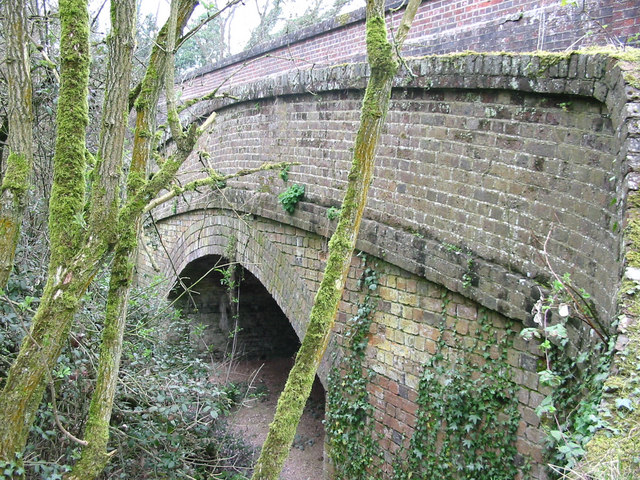 Tannery Lane Bridge, showing old canal bridge
