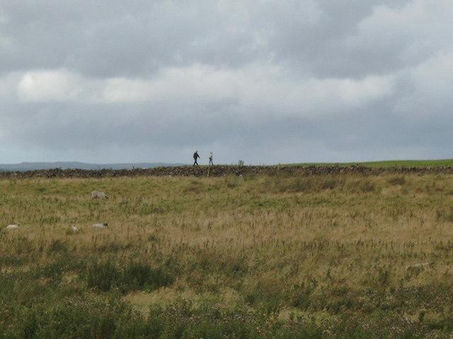 People walking the path along Hadrian's Wall