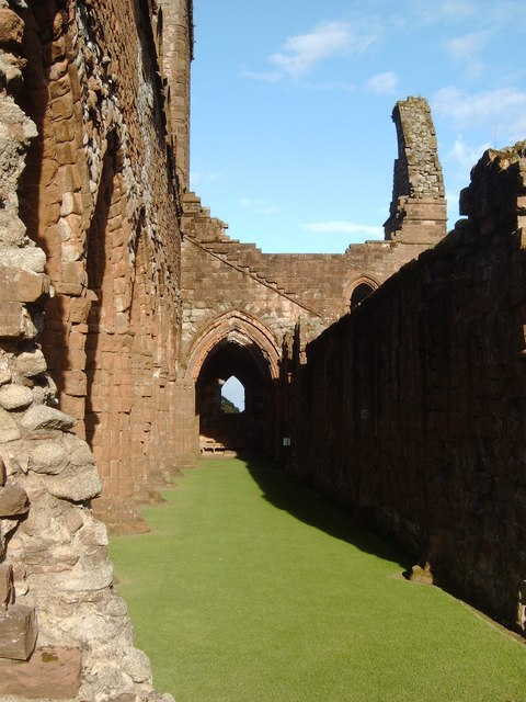 Shadows and sunlight at Sweetheart Abbey