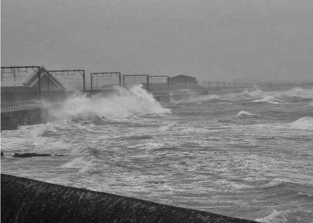 Saltcoats sea wall.