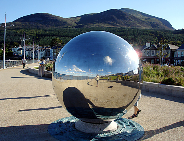 A large mirror ball on the Promenade
