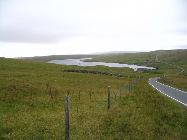 View down road past head of Scutta Voe