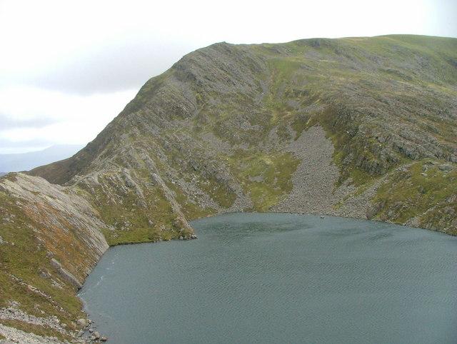 Y Llethr across Llyn Hywel from scree slope of Rhinog Fach
