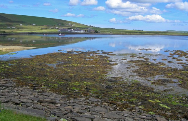 Beach and mudflats at Finstown Centre waterfront, Mainland Orkney