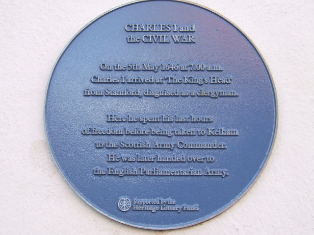 Plaque on the outside wall of the Saracens Head, Southwell