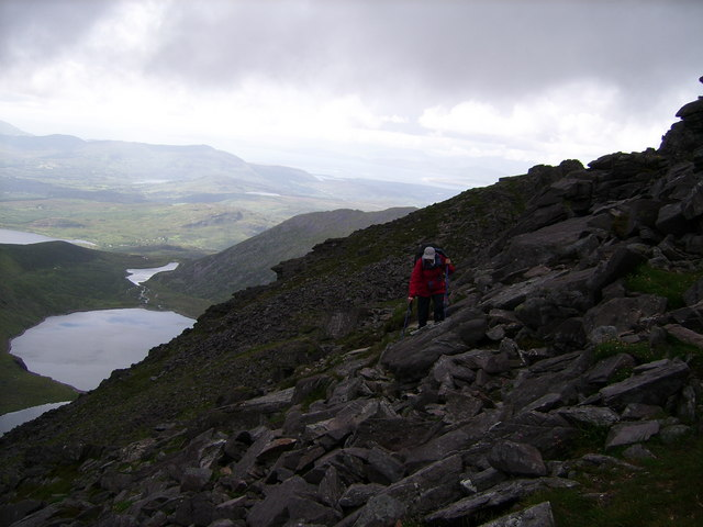 Looking NW from SW face of Carrauntoohil over Loch Com Lothair towards Inch Strand