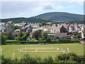 SD1680 : Millom cricket ground and Holborn Hill, Black Combe behind by Andrew Hill