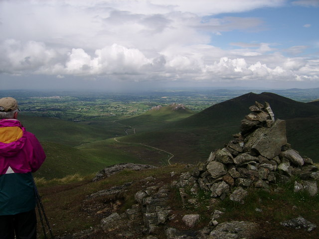 The Rowan Tree River track, (with Rocky River track beyond) from Slievemoughanmore