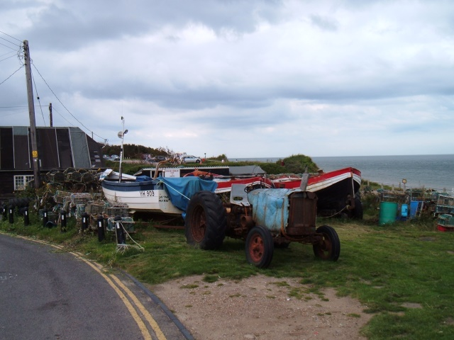 Fishing boats and tractor