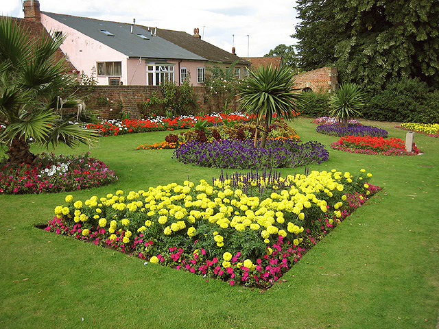 Brimming flower beds in Castle Park