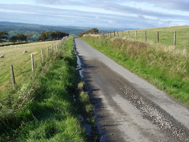 Single track road looking north towards Tregaron